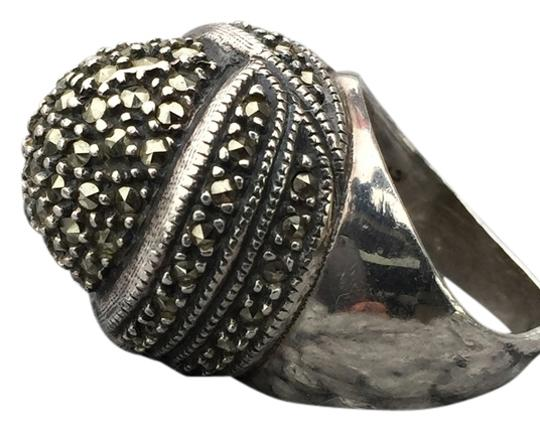 Signed Marcasite Dome Sterling Silver Ring size 6.5