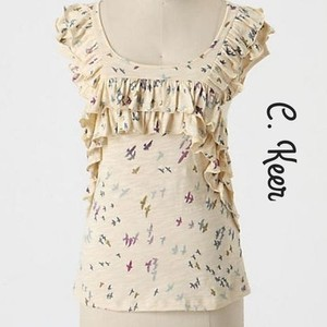 Anthropologie T Shirt Ivory/ Multi-Color
