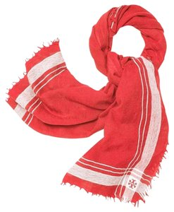 Tory Burch Tory Burch Signature Poppy Red & Ivory Wool Fringe Scarf