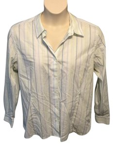 Eddie Bauer Wrinkle Resistant Cotton Button Down Shirt White, Blue and Green