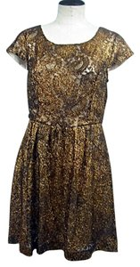 Kensie Gold Lace Bronze Metallic Dress