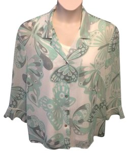 Alfred Dunner Semisheer Floral Top Green, Gray and White