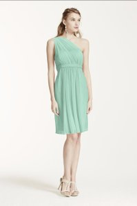 David's Bridal Mint One Shoulder Short Dress With Illusion Neck Dress