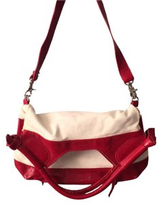 Foley + Corinna Red Patent Leather Tote Convertible Canvas Shoulder Bag