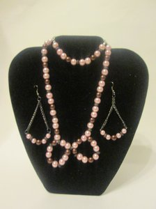 Pink and Brown Bow Jewelry Set