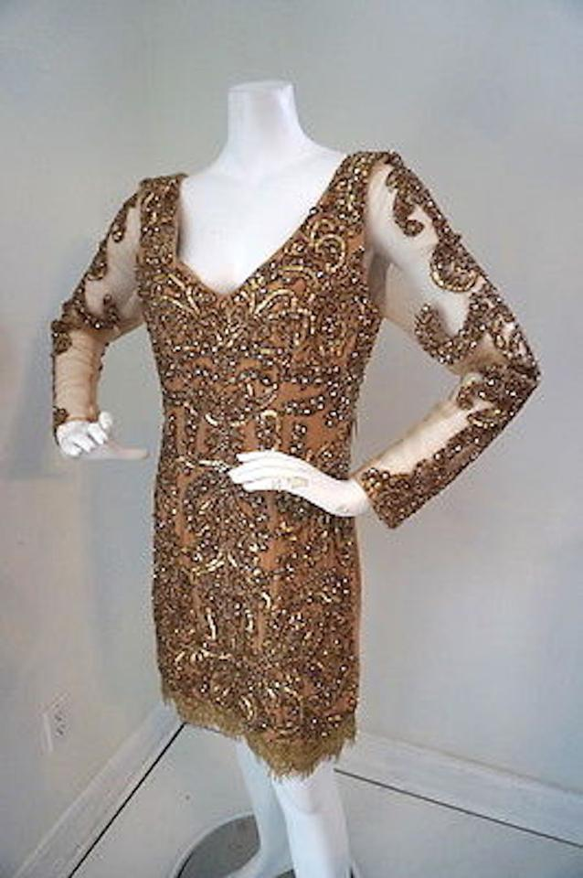 9bd71b1c74 Neiman Marcus Gold Beaded Evening Cocktail Above Knee Formal Dress ...