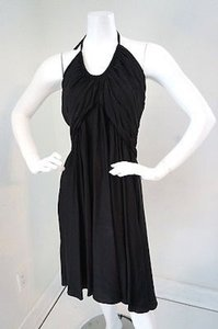 Cadeau Cadeau Black Silk Maternity Halter Swing Cocktail Dress