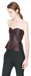 Zara Leather Strapless Date Top Burgundy