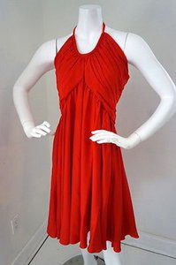 Cadeau Cadeau Red Silk Maternity Halter Swing Evening Cocktail Dress