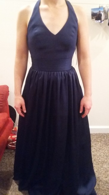 Item - Marine Blue Polyester White By Halter Bridesmaid/Mob Dress Size 0 (XS)