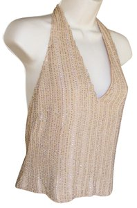 Emanuel Ungaro Beaded Fixed Neck Beige Halter Top
