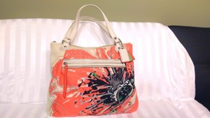 Coach Poppy Floral Tote in white, orange