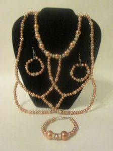 Copper Penny Glass Pearl Jewelry Set