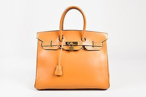 Hermès Vintage Natural Box Calf Leather Top Handle Birkin 35cm Satchel in Tan