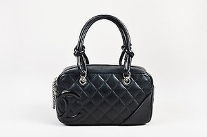 Chanel Leather Patent Leather Cc Quilted Ligne Cambon Tote in Black