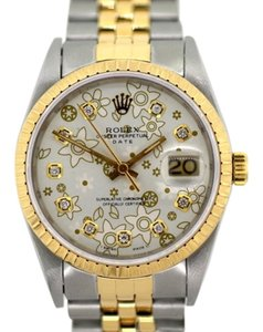 Rolex 31MM ROLEX DATE FLOWER PATTERNED WATCH WITH ROLEX BOX & APPRAISAL