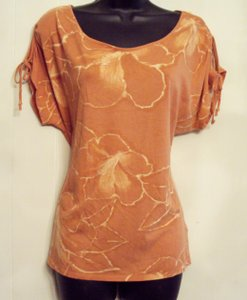 Sonoma Knit Keyhole Floral T Shirt Orange