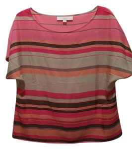 Ann Taylor LOFT Versatile Easy To Wear Top Pink and beige stripes