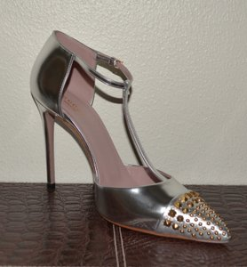 Gucci Leather Crystal Silver Pumps