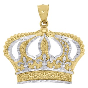 Other 10K Two Tone Gold King Queen Crown Pendant 1.25