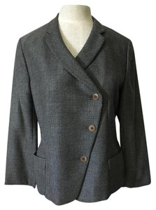 Armani Collezioni Made In Italy Lightweight Fabric Flattering Seams Virgin Wool/cashmere Gray & Black Blazer