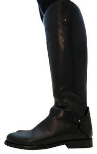 Tory Burch Tall Riding Logo Black Boots