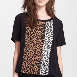 Elizabeth and James Top Black & multi print