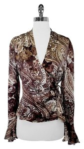 St. John Brown Paisley Wrap Top