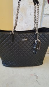 Coach Quilted Chain Handle Tote in Black