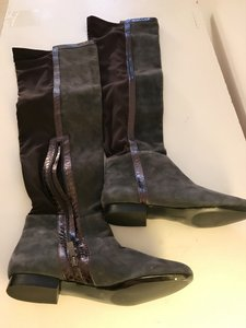 Vince Camuto Over The Knee Suede Flat Heel 2 toned-Charcoal Gray/Black Boots