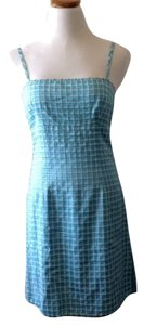 Nanette Lepore short dress Blue/white Thin Straps Gingham Design Silk on Tradesy