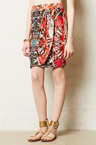 Maeve Anthropologie Abstract Geometric Skirt Olive and Coral