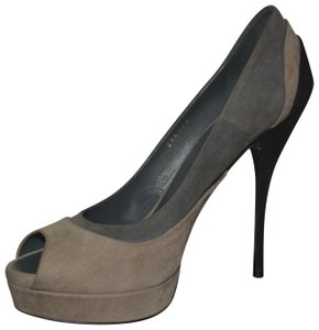 Gucci Leather Leather Suede Grey / Nero Pumps