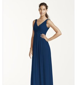 David's Bridal Marine (navy) Long Mesh Dress With Cowl Back Detail Dress
