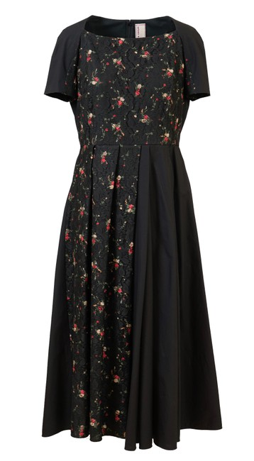 Item - Black Paneled Lace Floral Print Mid-length Night Out Dress Size 10 (M)