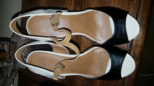 Elle Black, Tan and Ivory Wedges