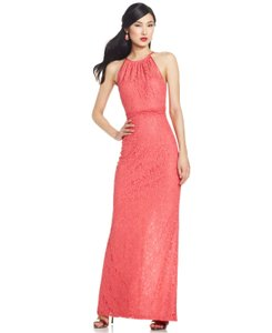 Adrianna Papell Lace Halter Illusion Dress