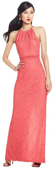 Preload https://img-static.tradesy.com/item/19922627/adrianna-papell-french-coral-pinks-lace-halter-long-formal-dress-size-10-m-0-1-650-650.jpg
