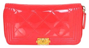 Chanel Chanel Neon Pink Patent Leather Small Boy Wallet