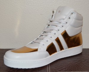 Gucci Leather Sneakers Mens Sneakers Hitop Sneakers White / Gold Athletic