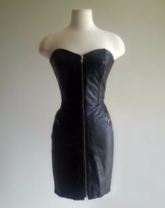 North Beach Leather Glam Zippered Boning Dress