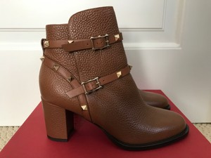 Valentino Leather Rockstud Brown Boots