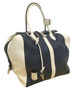 Louis Vuitton Speedy North South Speedy Gourmand Speedy Lv Speedy Handbag North South Lv Satchel in Navy Blue and White