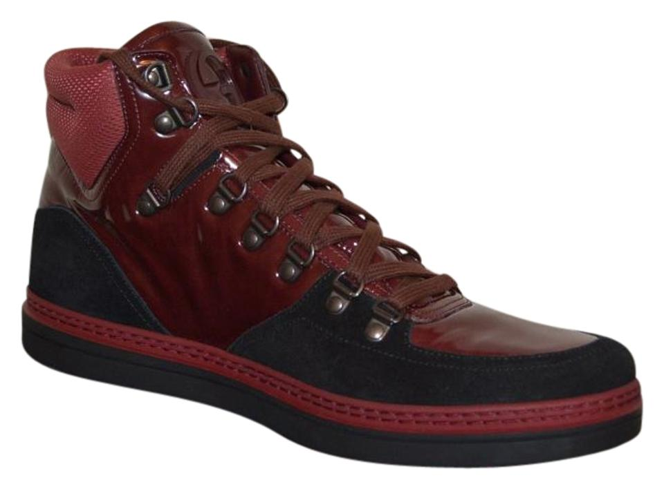2fe35f22249 Gucci Burgundy Mens Hitop Leather Suede Gg Sneakers Eu 45 Sneakers. Size   US 12 ...