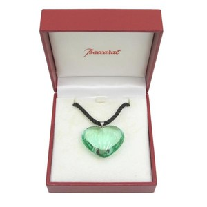 Baccarat Baccarat Heart Shape Green Crystal Necklace