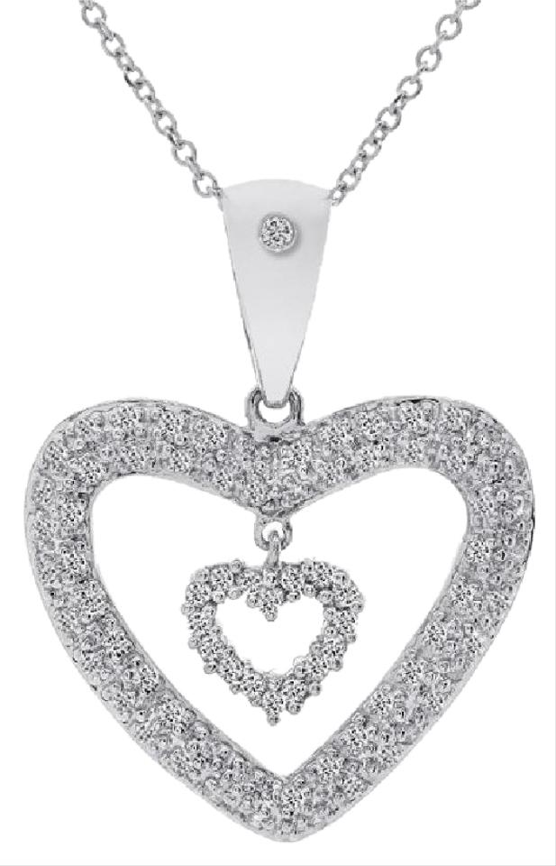 8cb916f15ca467 Avital & Co Jewelry 0.75 Carat Pave Round Diamond Double Heart Pendant  Cable Chain 14K WG ...