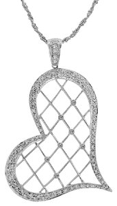 Avital & Co Jewelry 0.62 Carat Round Brilliant Cut Diamond Heart Pendant 14k White Gold