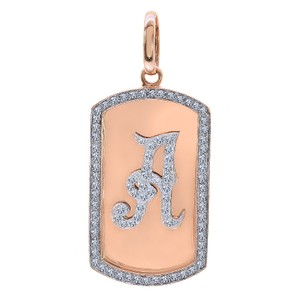 Avital & Co Jewelry 2.75ct Round Cut Diamond Dog Tag Personalized Initial Pendant 14k RG