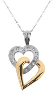 Avital & Co Jewelry 0.25 Carat Diamond Hearts Pendant 10k Two Tone Yellow White Gold