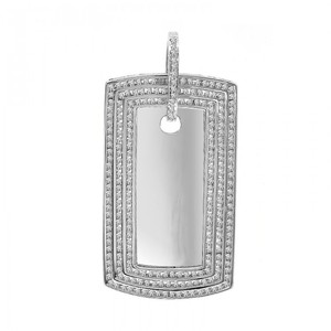Avital & Co Jewelry Carat Diamond Round Cut Dog Tag Pendant 14k White Gold